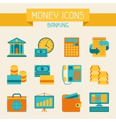 Set of money and banking icons vector image vector image