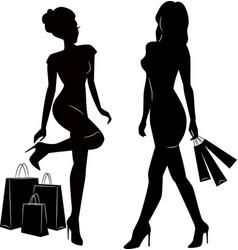 Shopping women silhouettes vector