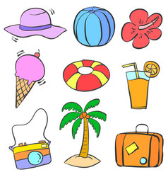 Collection stock of summer object doodles vector