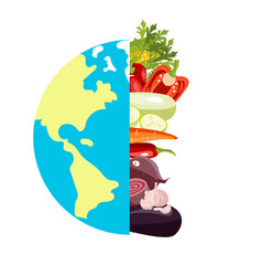 globe sign with different vegetables poster vector image vector image