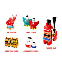 japanese folk toys set ii vector image vector image