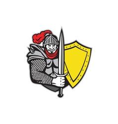 Knight Full Armor Open Visor Sword Shield Retro vector image