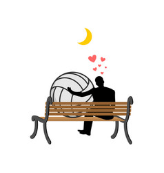 lover volleyball guy and ball sitting on bench vector image vector image