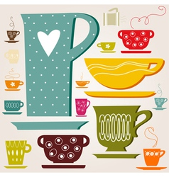 Set of color cup vector image vector image