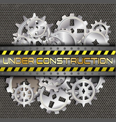 under construction with gears and pinions vector image vector image