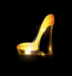 Yellow golden shoe vector