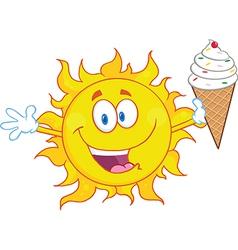cartoon sun with icecream vector image vector image