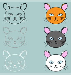 cat face different colour vector image