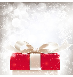 Christmas background with gift vector image vector image