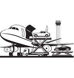 loading cars in cargo airplane vector image vector image