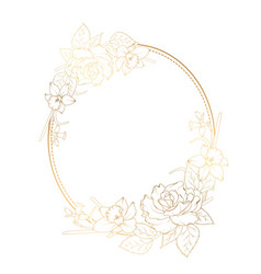 oval frame rose peony narcissus daffodil flowers vector image