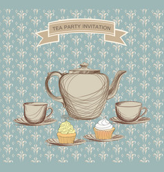 tea cup kettle retro card tea time vintage vector image vector image