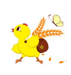 Abstract image of a chicken with wheat vector image