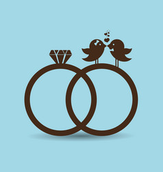 bird couple married rings card vector image