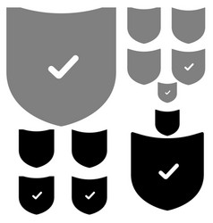 black and grey shield with sign the ok vector image