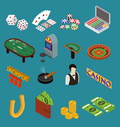 casino and gambling game set isometric view vector image