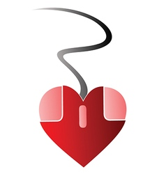 Heart PC mouse vector image vector image