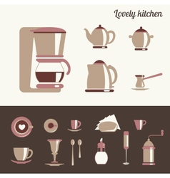 Kitchen utensil for coffee and tea vector image