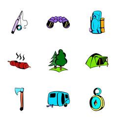 picnic icons set cartoon style vector image