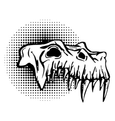 Skull of danger beast with huge fangs vector image