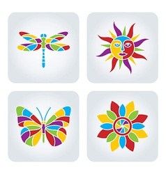 Summer mosaic icons vector image
