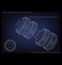 3d model of a cogwheel on a blue vector