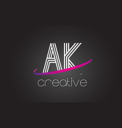ak a k letter logo with lines design and purple vector image