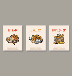 bakery and bread shop bakers banners set vector image