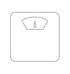 bathroom scale sign black dotted icon on vector image