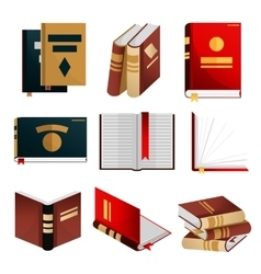 Books icons set knowledge concept vector