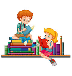 Boy and girl reading books together vector