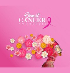 Breast cancer awareness papercut woman flower head vector