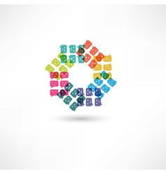 bubble speech emotions color in circle vector image