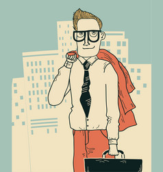 Businessman in office clothes on the megapolis vector