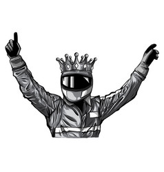 car racing man cartoon design vector image
