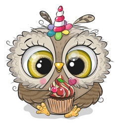 cartoon owl with horn a unicorn and a vector image