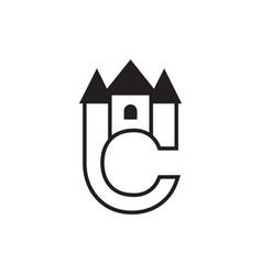 castle c letter logo design concept vector image