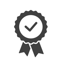 Certified or approved ribbon with checkmark vector