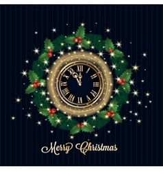 Christmas garland with the clock greeting card vector