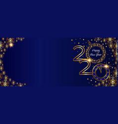 christmas golden banner 2020 happy new year vector image
