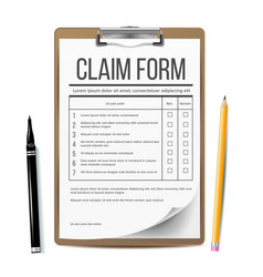 Claim form business document accident snd vector