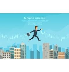Confident businessman jumping between buildings vector