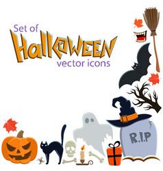 corner frame of halloween icons vector image