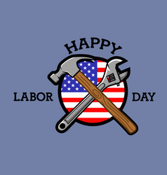 Cross tools labor day badge vector