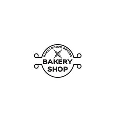 crossed rolling pin bakery logo designs vector image
