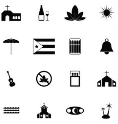 cuba icon set vector image