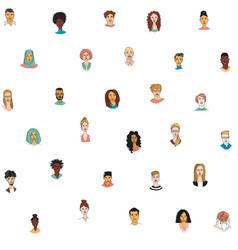 decorative diverse womens mens head seamless vector image