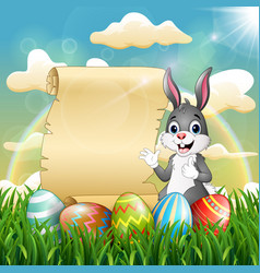 easter bunny near paper scroll and easter egg vector image