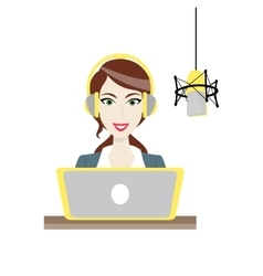 Female brown-haired Disc Jockey radio station vector image