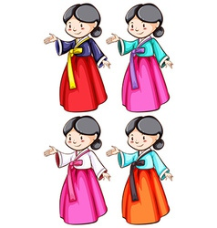 Females wearing the Asian costumes vector image